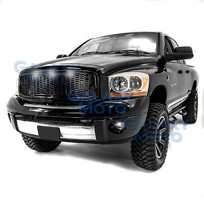 06-09 Dodge RAM Raptor Style Gloss Black Replacement Mesh Grille+Shell+White LED