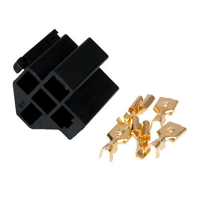 Car Auto Truck 5 Pin Relay Socket Holder with 5Pcs 6.3mm Copper Terminal