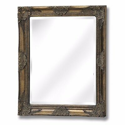 French Vintage Antique Gold Rectangle Ornate Fireplace Hall Wall Hanging Mirror