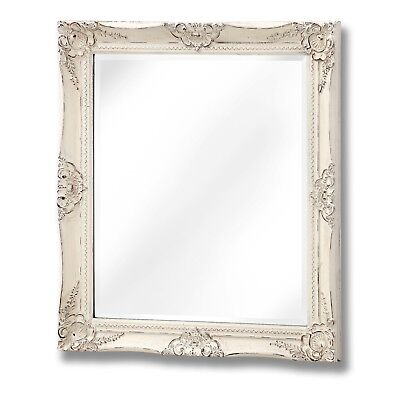 French Vintage Style Antique White Rectangle Fireplace Hall Wall Hanging Mirror