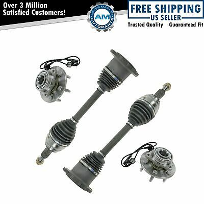 4 Piece Steering Kit Wheel Hub & Bearing Assembly w/ CV Axle Shaft for Chevy GMC