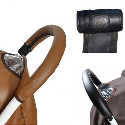 Baby Pram Stroller PU Leather Sleeve Hold Handle Protective Grip Case Cover