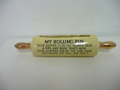 """Vintage Kitsch 1950s Ceramic Rolling Pin Posy Vase With 'Your Supper..."""" Rhyme"""