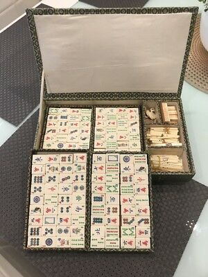 Vintage Bone And Bamboo Mahjong Set In Case