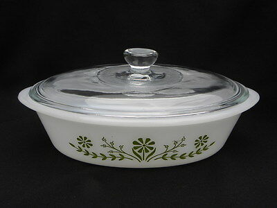 Vintage Glasbake 1 Qt. Oval Covered Casserole/Vegetable Dish w/Green Daisies Lid