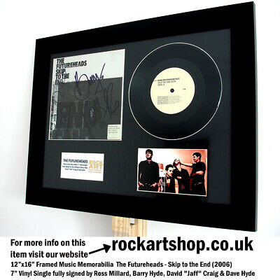 """THE FUTUREHEADS Skip to the End *FULLY SIGNED 7"""" VINYL SINGLE* Autographed WORLD"""