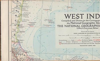 NATIONAL GEOGRAPHIC MAP ~ WEST INDIES ~ March 1954 ~ VERY NICE CONDITION