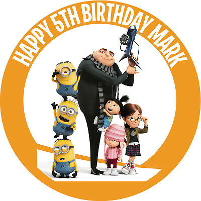 Despicable ME Personalised Edible REAL Icing Image Birthday Cake Toppers
