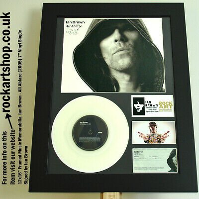 """IAN BROWN All Ablaze *SIGNED 7"""" VINYL SINGLE* Autographed WORLD SHIP Stone Roses"""