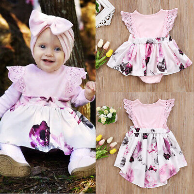 Toddler Kids Girls Newborn Baby Floral Lace Dress Cotton Romper Sundress Clothes