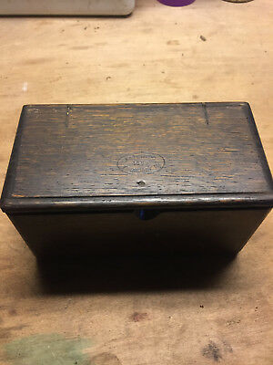 Singer Sewing Machine Oak Dovetail Puzzle Box with Attachments - Great Shape