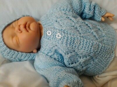 New. Hand Knitted Baby boys cardigan and hat. 0-3 months. Blue