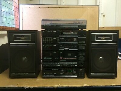 Rare Retro Philips Hi-fi Stereo System, Tuner, Cassette, Cd, Amp,Turntable, Wow!