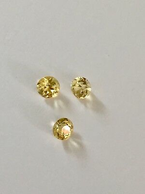 3 Citrine Gemstones Round 5mm