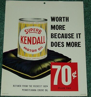 Early 1960 Superb Kendall Motor Can Oil Sign