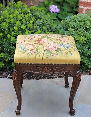Antique French Country Oak Rococo Floral Needlepoint Tapestry Foot Stool Bench