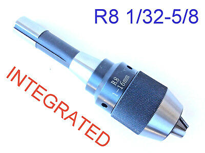 "1pc Keyless Integrated 1/64""- 5/8"" Drill Chuck Self Tighten w/R8 Shank"
