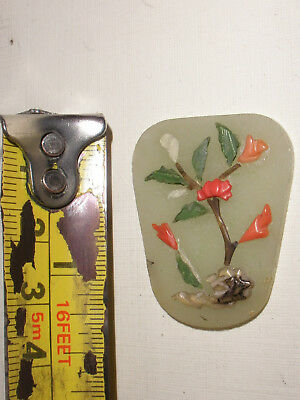 Antique Chinese jade coral flowers inlay stone carving pendant