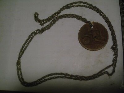 1930s SWAMI GOOD luck token/pendant with swastika and the all seeing eye & chain