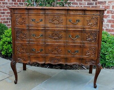 Antique French Country Oak Serpentine 3-Drawer Chest Nightstand Commode #4