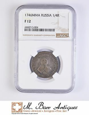 F12 1746 Russia 1/4 Rouble - Graded NGC *063