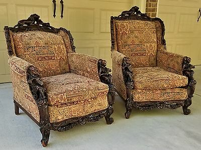 PAIR 19thC ANTIQUE CHAIRS CARVED ACCORDION PLAYERS LIONS ROSES HUNZINGER HERTER