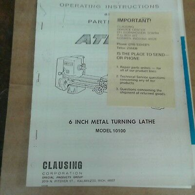Atlas Craftsman 6 Inch Lathe Instructions And Parts Manualand Accessory Catalog