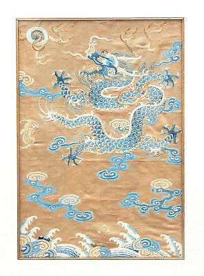 18th C. Pair Antique Chinese Imperial Dragon Silk Embroidered Jifu Robe Panels