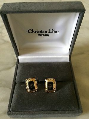 vintage gold plated '1970 Christian Dior cufflinks and original box