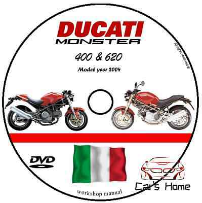 MANUALE OFFICINA DUCATI MONSTER 620 ie 400 MY 2004 WORKSHOP MANUAL SERVICE DVD