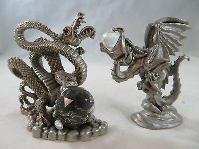 Vintage Deocrative Collectibles Comstock & Spoontiques Pewter Dragon Figurines