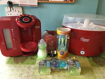 Tommee Tippee Perfect Prep Machine, Steriliser and Bottle Warmer in Red & Bundle