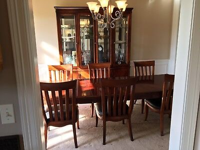 Bernhardt 10 Piece Dining Room Set,Two Leafs,Custom Cut Table Pad 1/2 inch thick