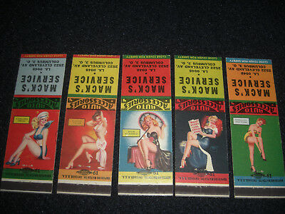 Pin-Up 1946 Mack's Service SUNOCO Matchbook Covers Set of 5 Mad Cap Maids