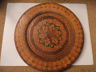vintage wooden plate poker work painted Continental 30 cms