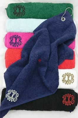 Personalised Golf Towel Embroidered With Initials Monogram In Corner