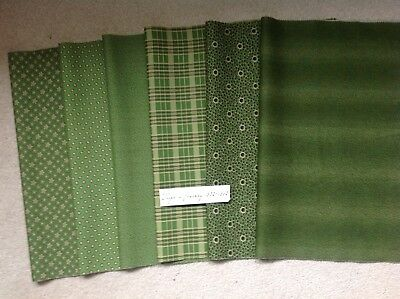 Moda Repro print cottons for crafts quilt/ patch - Green mix