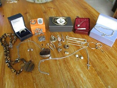 large collection antique,vintage & modern  silver jewellery unusual lot..