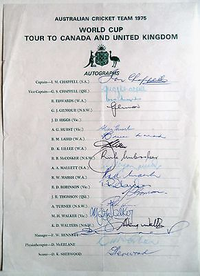 Australia To England 1975 – Cricket Official Autograph Sheet
