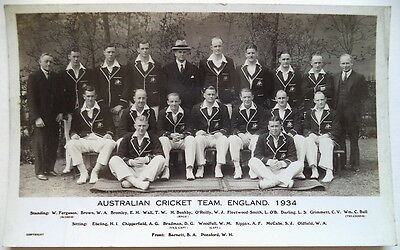 Australia To England 1934 Photographic Cricket Postcard