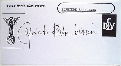 Elfriede Rahn-Kaun 1936 Olympic High Jump Bronze Medal Original Ink Autograph