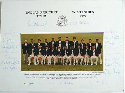 England To West Indies 1994 Signed Official Team Photo