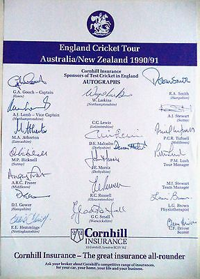 England To Australia & New Zealand 1990-91 – Cricket Official Autograph Sheet