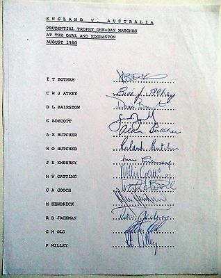 ENGLAND v AUSTRALIA 1980 PRUDENTIAL TROPHY – CRICKET OFFICIAL AUTOGRAPH SHEET