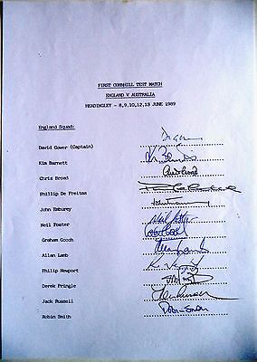 ENGLAND v AUSTRALIA 1989, 1ST TEST MATCH – CRICKET OFFICIAL AUTOGRAPH SHEET