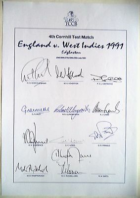 ENGLAND v WEST INDIES 1991, 4th TEST MATCH – CRICKET OFFICIAL AUTOGRAPH SHEET
