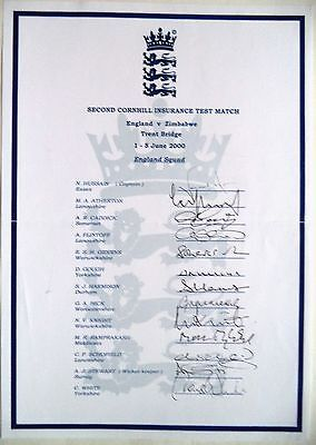 ENGLAND v ZIMBABWE 2000, 2nd TEST MATCH – CRICKET OFFICIAL AUTOGRAPH SHEET