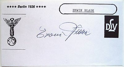 Erwin Blask 1936 Olympic Hammer Throw Silver Medal Original Ink Autograph