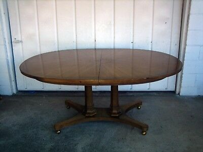 Mid Century Double Pedestal Oval Wood Dining Table with Two Leaves