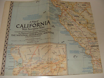 Vintage National Geographic Society  Map 1954 California